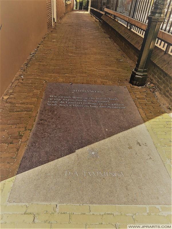 Gedicht fan D.A. Tamminga yn Ljouwert, Nederland