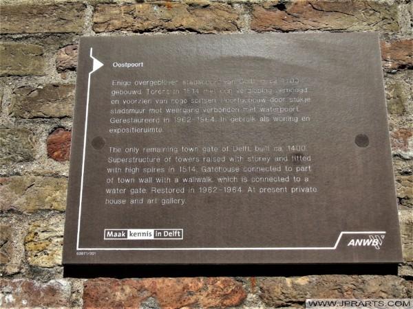 Geschichte des Oostpoort in Delft, Niederlande
