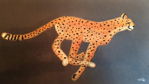 Pastel, jaguar en pleine course