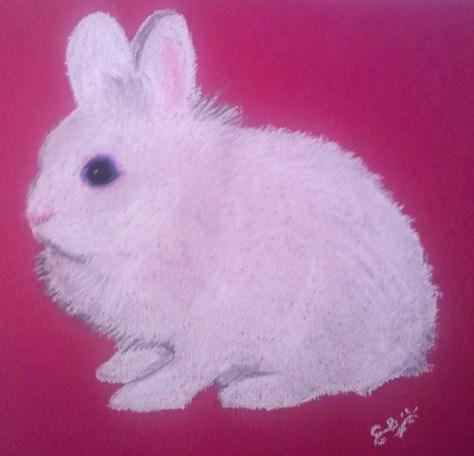 Pastel, lapin blanc aux yeux bleus