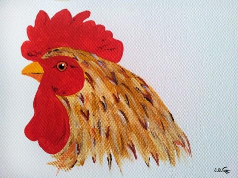 Peinture acrylique, coq