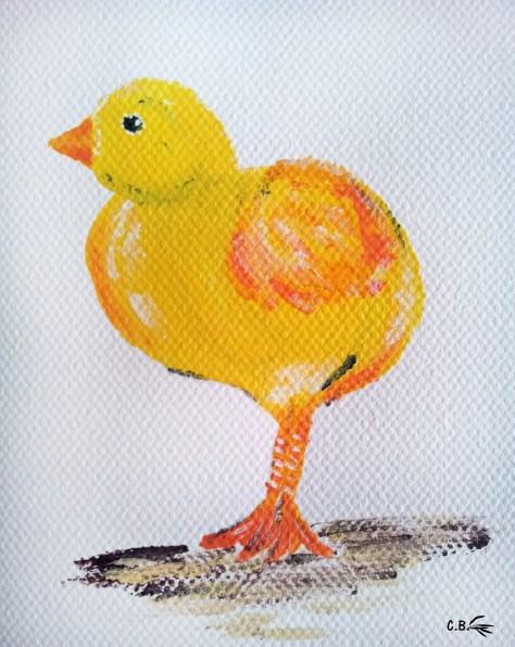 Peinture acrylique, poussin