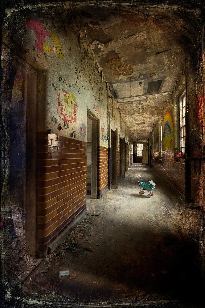 Corridor in the children's wards at West Park abandoned Asylum (Viveca Koh)