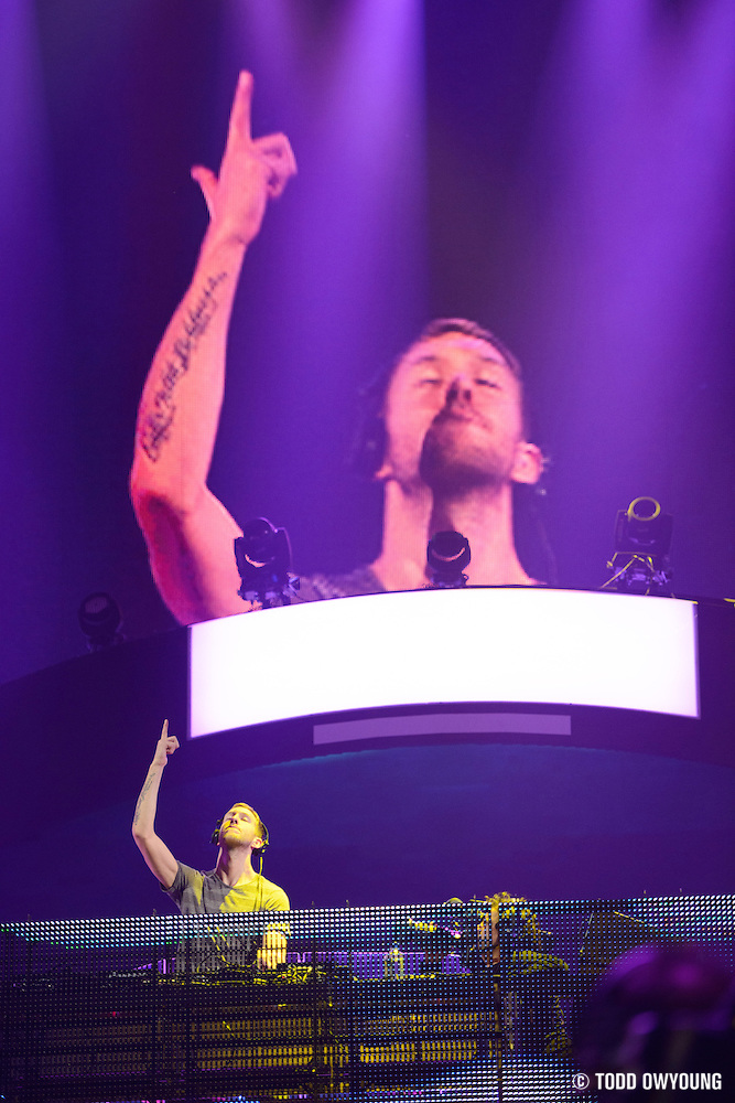Electronc dance music producer Calvin Harris performing at the iHeartRadio Music Festival in Las Vegas, Nevada on September 22, 2012. (Todd Owyoung)