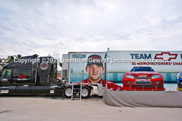 Team Chevy trailer truck parked on Miami Beach during a NASCAR promotional event. (Jonathan Gewirtz)