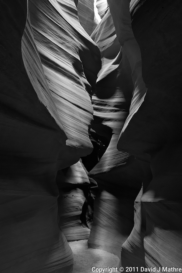 Upper Antelope Canyon, Page Arizona. Image taken with a Nikon D3 camera and 24-70 mm f/2.8 lens (ISO 200, 29 mm, f/16, 2 sec). Image processed with Capture One Pro. Converted to B&W with NIK Silver Efex Pro 2 (David J Mathre)