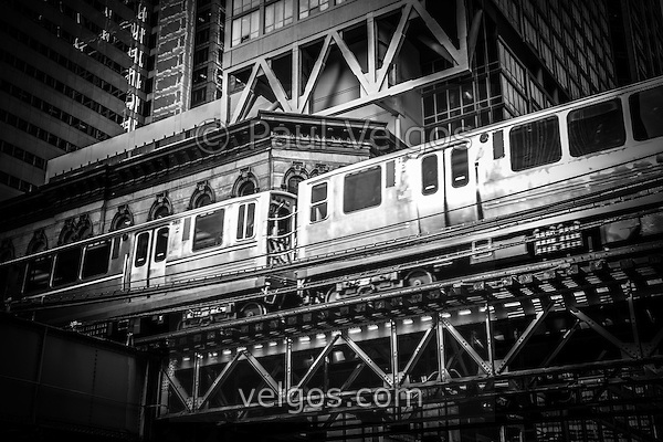 "Chicago elevated ""L"" train in black and white. (Paul Velgos)"