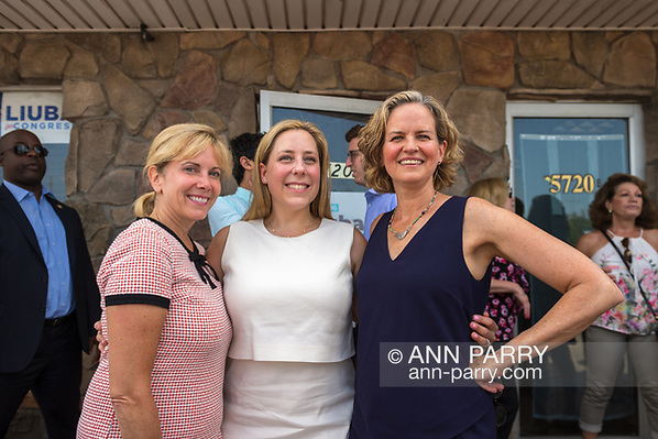 Massapequa, NY, USA. August 5, 2018. L-R, LAURA GILLEN, Hempstead Town Supervisor; LIUBA GRECHEN SHIRLEY, Congressional candidate for NY D2; & LAURA CURRAN, Nasssau County Executive, pose at Campaign Office Opening. (© 2018 Ann Parry/Ann-Parry.com)