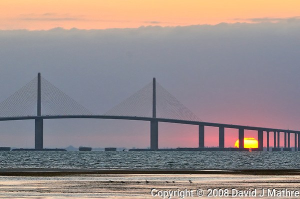 Sun rising under the Sunshine Skyway Bridge from Fort De Soto Park. Image taken with a Nikon D300 camera and 200-400 mm f/4 telephoto zoom lens (ISO 800, 200 mm, f/5.6, 1/400 sec). (David J Mathre)