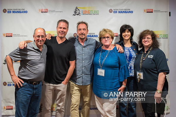 Bellmore, New York, USA. 19th July 2017. L-R, HENRY STAMPFEL, BRAD KUHLMAN, LOU DiMAGGIO, TRISH APPELLO, woman, and ANNE STAMPFEL pose during final Screening Night of Long Island International Film Expo 2017 at Bellmore Movies. The last film screened was the feature documentary
