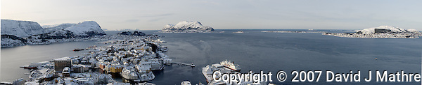 Ålesund Winter Panorama. Image taken with a Nikon D2xs and 12-24 mm f/4 lens (ISO 400, 24 mm, f/11, 1/500 sec). Composite of 6 images combined with Kolor AutoPano Giga Pro. (David J Mathre)