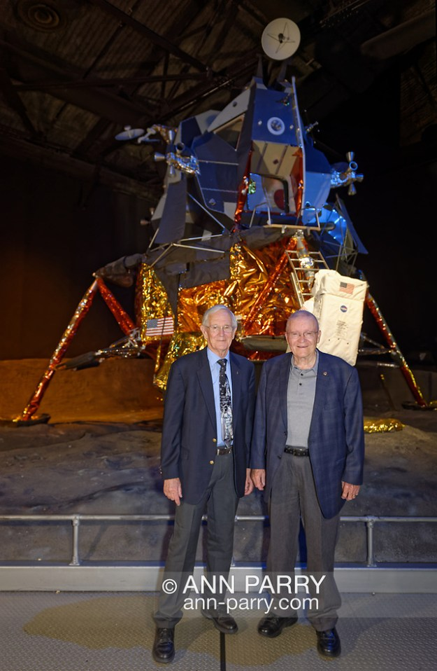Garden City, New York, U.S. June 6, 2019. L-R, Astronauts CHARLIE DUKE, Apollo 16, and FRED HAISE, Apollo 13, Lunar Module pilots, pose in front of the genuine Grumman Lunar Module 13, built for canceled Apollo 18 mission, during Cradle of Aviation Museum's Apollo Astronauts Press Conference during its day of events celebrating 50th Anniversary of Apollo 11. (Ann Parry/Ann Parry, ann-parry.com)