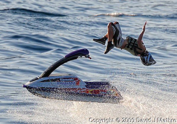 """Losing It. Jet Skier on Lake Chelan from the rear of """"The Lady of the Lake II. Image taken with a Nikon D3x and 80-400 mm VR lens (ISO 400, 300 mm, f/10, 1/1000 sec). (David J. Mathre)"""