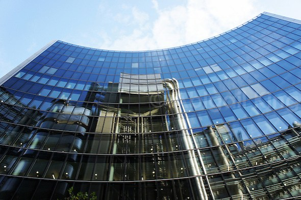 """The """"inside-out"""" Lloyds Building reflected in the Willis Building, City of London"""