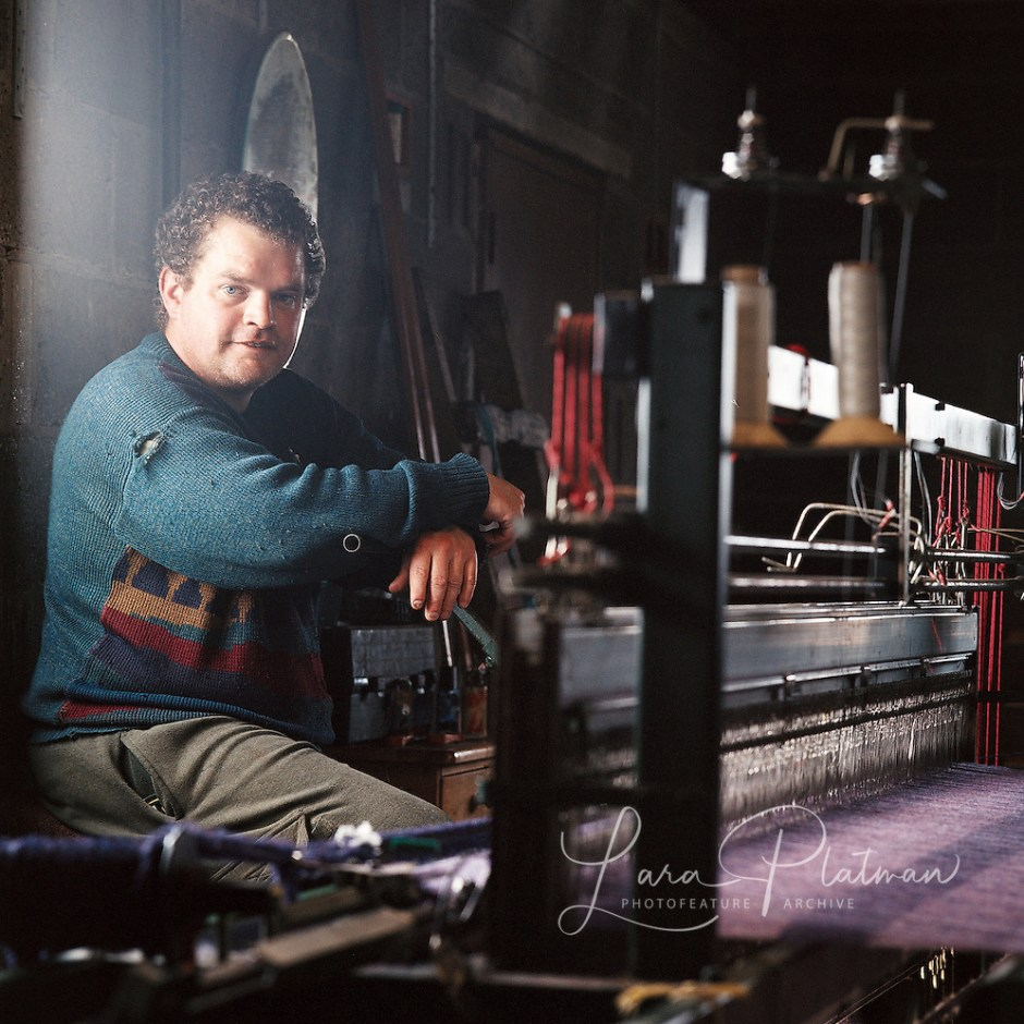 Weaver in Lewis for the Harris Tweed from land to street book (Lara Platman)