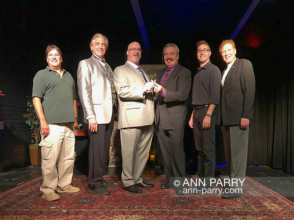 Lindenhurst, NY, USA. Sept. 23, 2018. (L-R) Executive Producer Ted Plezia, and magicians RJ Lewis, Joe Silkie, Bob Yorburg, and David Rosenfeld, and Producer Mike Maione pose after Comedy Magic Show presented by The Parlor of Mystery. (© 2018 Ann Parry/Ann-Parry.com)