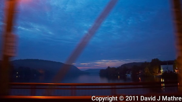 Crossing the Delaware on the Lambertville - New Hope Bridge. Pre-Dawn New Jersey and Pennsylvania. Image taken with a Nikon D700 and 28-300 mm VR lens (ISO 6400, 28 mm, f/3.5, 1/25 sec). (David J Mathre)