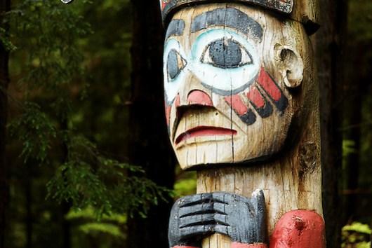 Replica of Thunderer's Pole totem pole, Totem Bight State Historical Park, Ketchikan, Alaska (Copyright Brad Mitchell Photography.9601 Wall St.Snohomish, WA 98296.USA.425-418-7279.brad@bradmitchellphoto.com)