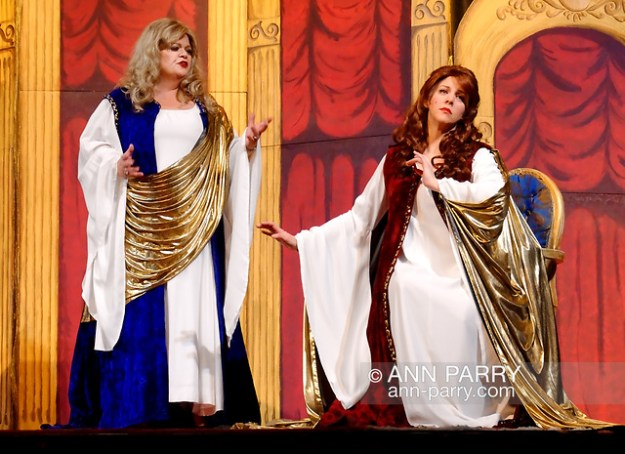 """Merrick, N.Y., U.S. February 21, 2010. Duelling Divas stars, sopranos BIRGIT FIORAVANTE and WENDY REYNOLDS - wear Roman cloaks while singing Mira, O Norma and Casta Diva from Bellini's Norma - in comic opera concert presented by Merrick Bellmore Community Concert Association. (© 2010 Ann Parry/AnnParry.com)"