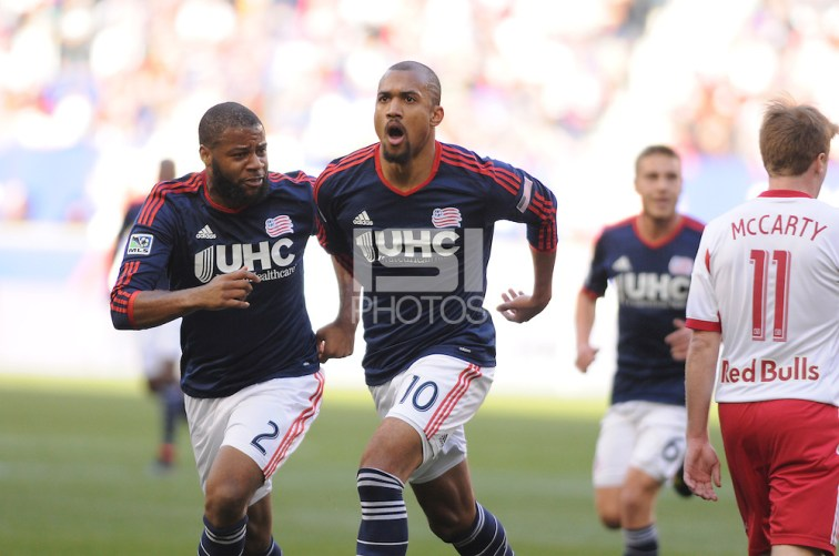 HARRISON, NJ - Sunday November 23, 2014: Teal Bunbury scores the first goal of the game for New England in the 17th minute.  The New York Red Bulls lose 2-1 to the New England Revolution at Red Bull Arena in the first leg of the Eastern Conference Finals of the MLS Cup Playoffs. (Mike Lawrence/isiphotos.com)