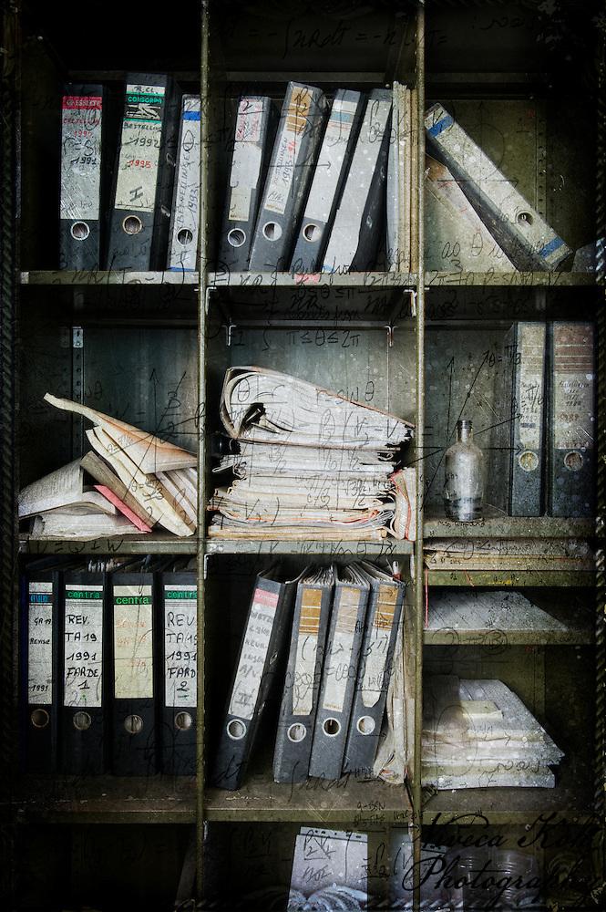 Files on shelves in abandoned Belgian powerplant (Viveca Koh)