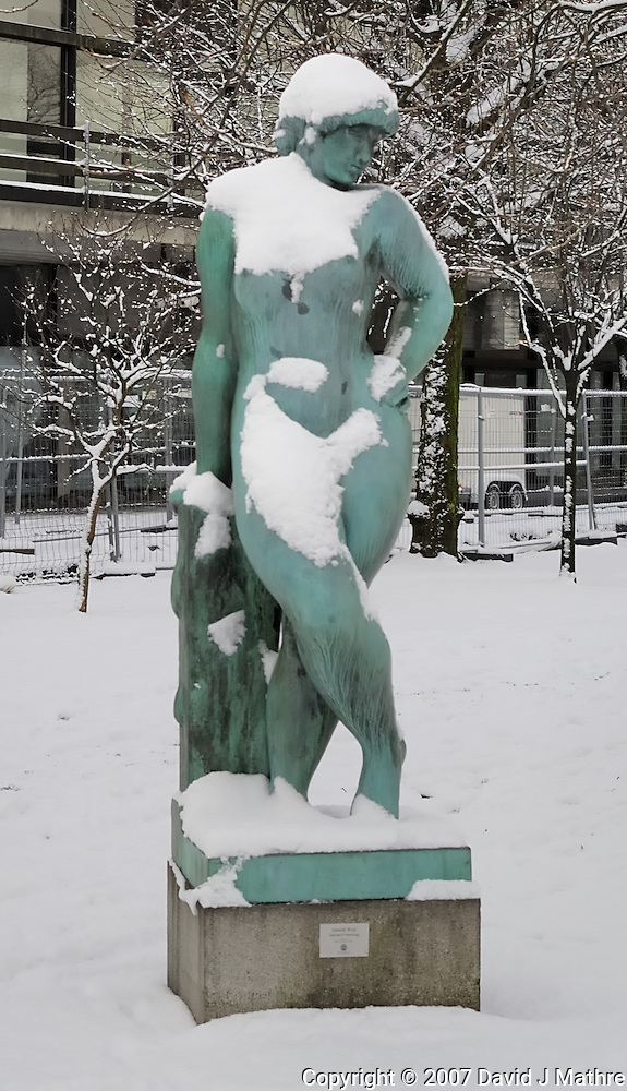 Winter Female Statue in Bergen, Norway. Image taken with a Nikon Dxs and 35 mm f/2D lens (ISO 100, 35 mm, f/5.6, 1/125 sec) (David J. Mathre)