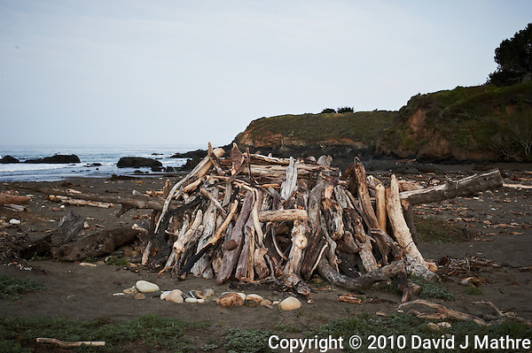 Driftwood Shelter near Pico Creek, San Simeon, Central California Coast. Image taken with a Nikon D3s and 50 mm f/1.4G lens (ISO 800, 50 mm, f/10, 1/400 sec). (David J Mathre)