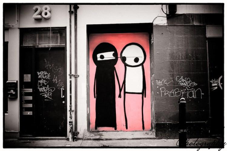 Street art by Stik, Shoreditch, East London (Viveca Koh)