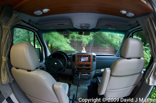 Fish-eye View from the Rear of the White RAM. Road Trek RS Adventurous RV. Image of the cockpit, taken with a Nikon D300 and 10.5 mm fish-eye lens (ISO 200, 10.5 mm, f/2.8, 1/15 sec). (David J Mathre)