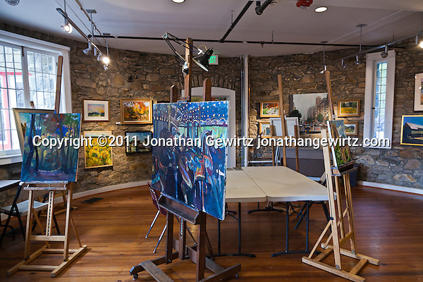 Paintings fill the ground floor of the stone tower at Glen Echo Park, Maryland. (Copyright 2011 Jonathan Gewirtz jonathan@gewirtz.net)