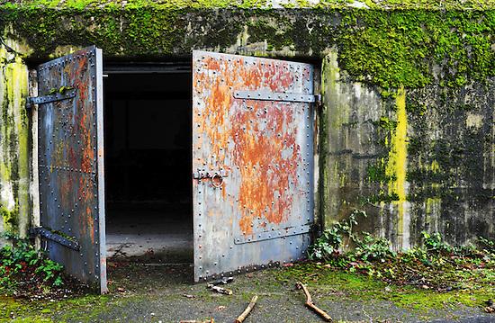 Open rusty steel door at concrete bunker tunnel, Artillery Hill, Fort Warden State Park, Port Townsend, Washington, USA (Brad Mitchell)