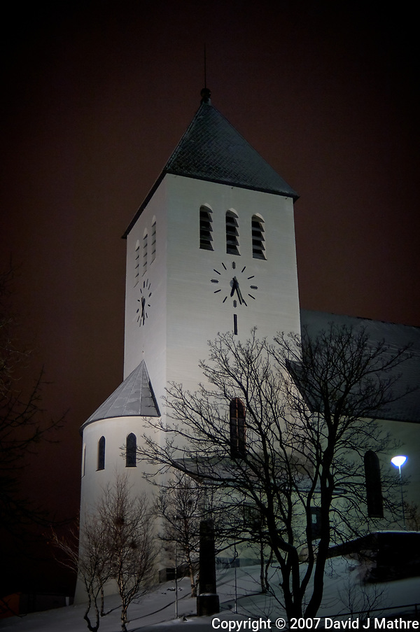 Svolvær Church at night. Image taken with a Nikon D2xs camera and 35 mm f/2 lens (ISO 400, 35 mm, f/2, 1/15 sec) (David J Mathre)