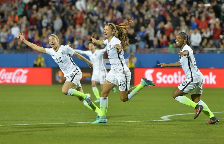Morgan Brian, Alex Morgan, Crystal Dunn -- Frisco, TX. - February 10, 2016: The USWNT take an early 2-0 lead against Costa Rica  in CONCACAF Women's Olympic Qualifying at Toyota Stadium. (Brad Smith/isiphotos.com)