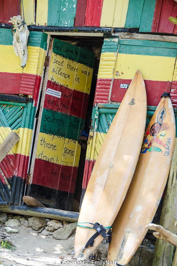 Surf shack on Winnifred Beach in Portland Jamaica. (Emily Naff)