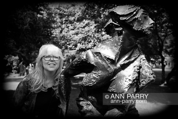 Roslyn, New York, U.S. July 7, 2019. PAMELA WALDROUP poses next to bronze sculpture