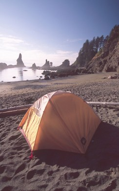 Camping Alongside the Pacific Ocean at Shi Shi Beach, Olympic National Park, Washington, US (© Roddy Scheer / DanitaDelimont.com)