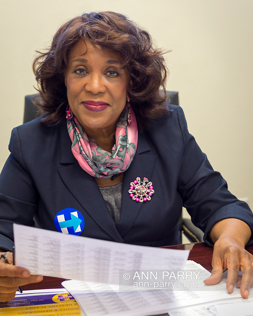"""Garden City, New York, USA. April 17, 2016. BERNICE SIMS, a campaign volunteer for Democratic presidential primary candidate Hillary Clinton, is working at the Canvass Kickoff at Nassau County Democratic Office. Ms. Sims is a social worker, civil rights activist and author of the 2014 book Detour Before Midnight - her personal account of the last hours she and her family were with the Mississipi Burning civil rights workers killed by the KKK in 1964. (© 2016 Ann Parry/AnnParry.com)"