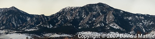 Early Morning Panorama of the Mountains and Flatirons from Boulder. Composite of 8 images taken with a Nikon D300 camera and 18-200 mm VR lens (ISO 1600, 200 mm, f/8, 1/60 sec). Raw images processed with Capture One Pro and the composite created using AutoPano Giga Pro. (David J Mathre)