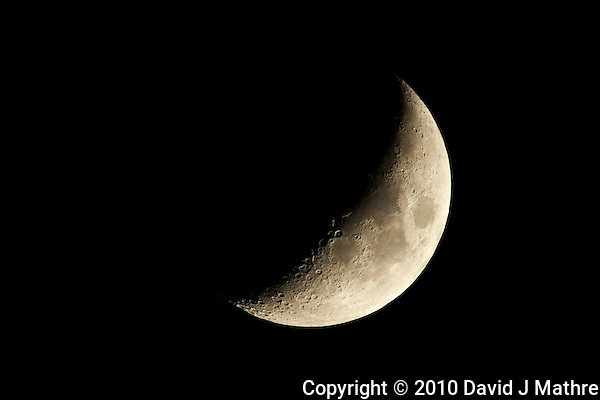 Waxing Crescent Moon. Image taken with Nikon D3s and 400 mm f/2.8 lens with TC-E 2.0 teleconverter (ISO 200, 800 mm f/8, 1/100 sec) (David J Mathre)