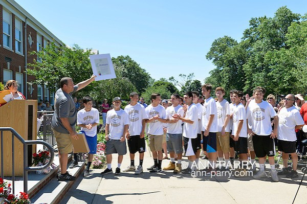 Wantagh, New York, USA. July 4, 2016. Teams members of the high school Wantagh Warriors baseball team receive Certificates issued by Nassau County Supervisor at the 60th Annual Miss Wantagh Pageant, an Independence Day tradition on Long Island. The Wantagh Warriors baseball team won another county championship, its third Long Island Championship and its second New York State Class A championship. (Ann Parry/Ann Parry, ann-parry.com)