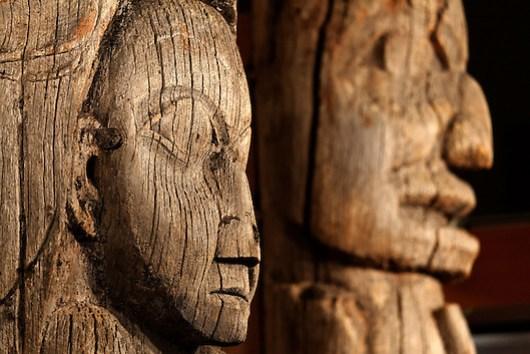 Totem poles inside Totem Heritage Center (Memorial Pole, Haida, left and Mortuary Pole, Tlingit, right), Ketchikan, Alaska (Copyright Brad Mitchell Photography.9601 Wall St.Snohomish, WA 98296.USA.425-418-7279.brad@bradmitchellphoto.com)