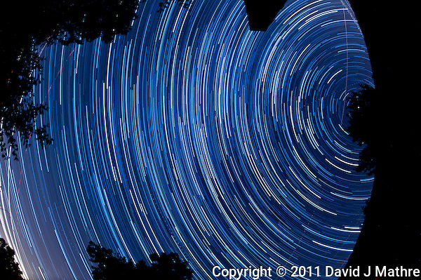 North View Star Trails. Summer Night in New Jersey. Image taken with a Nikon D3s and 16 mm f/2.8 mm Fisheye lens (ISO 400, 16 mm, f/4, 59 sec). Composite of 120 images combined using the Startrails program. (David J Mathre)