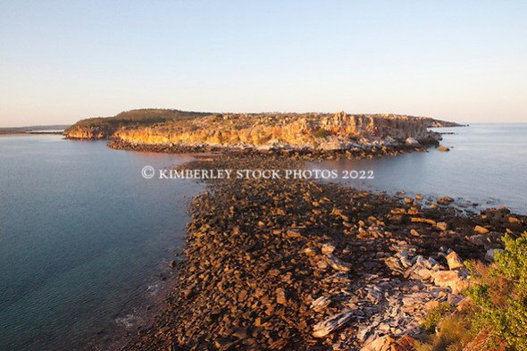 Early morning view from the cliffs at Hall Point in Camden Sound.  Low tide exposes a rock bar which is covered at high tide. (Annabelle Sandes/© Annabelle Sandes | Kimberley Media 2012)