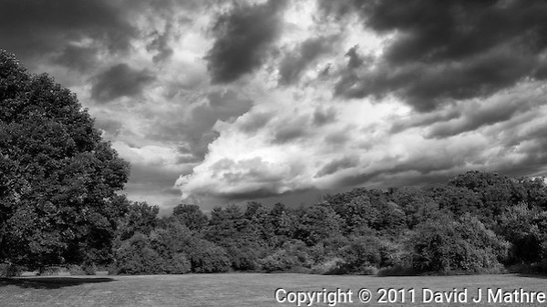 Storm Departing -- Backyard Summer Landscape. Image taken with a Leica X1 (ISO 100, 24 mm, f/5.6. 1/800 sec). Raw image processed with Capture One Pro, Nik Define, and Photoshop CS5. Converted to BW with Nik Silver Efex Pro 2. (David J. Mathre)