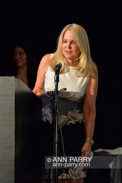 Bellmore, New York, USA. July 21, 2016. ANGELA ANTON accepts the Humanitarian Award at the 19th Annual Long Island International Film Expo Awards Ceremony, LIIFE 2016, held at the historic Bellmore Movies. Angela Susan Anton is the Publisher and CEO of Anton Media Group, the largest privately owned newspaper company in New York State. LIIFE was called one of the 25 Coolest Film Festivals in the World by MovieMaker Magazine. (Ann Parry/Ann Parry, ann-parry.com)
