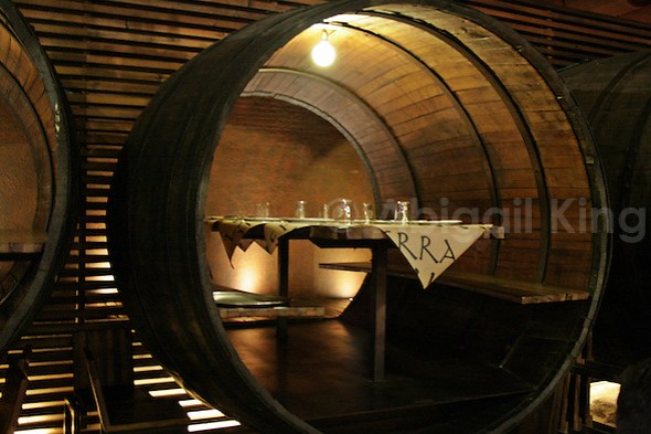 Inside a huge barrel in a sidreria in Asturias
