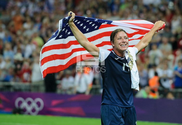 London, England - Thursday, August 9, 2012: The USA defeated Japan 2-1 to win the London 2012 Olympic gold medal at Wembley Arena. Abby Wambach celebrates her gold medal. . (John Todd/isiphotos.com)