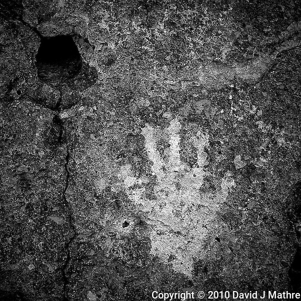 The Hand. Red Canyon Petroglyphs. Image taken with a Nikon D3s and 24 mm f/1.4G lens (ISO 200, 24 mm, f/5.6, 1/80 sec). Raw image processed using Capture One Pro 6, Nik Silver Efex Pro 2, and Photoshop CS5 (David J Mathre)