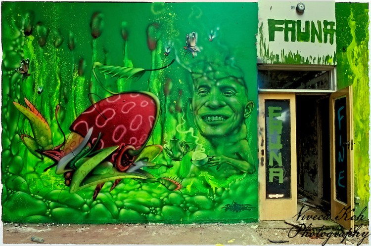 Painting by artist Rocket01 in abandoned building in Sheffield, South Yorkshire (Viveca Koh)
