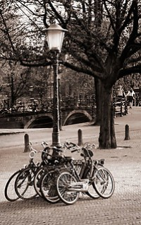bicycles chained to light post, Amsterdam, Netherlands, Europe (Copyright Brad Mitchell Photography.9601 Wall St.Snohomish, WA 98296.USA.425-418-7279.brad@bradmitchellphoto.com)